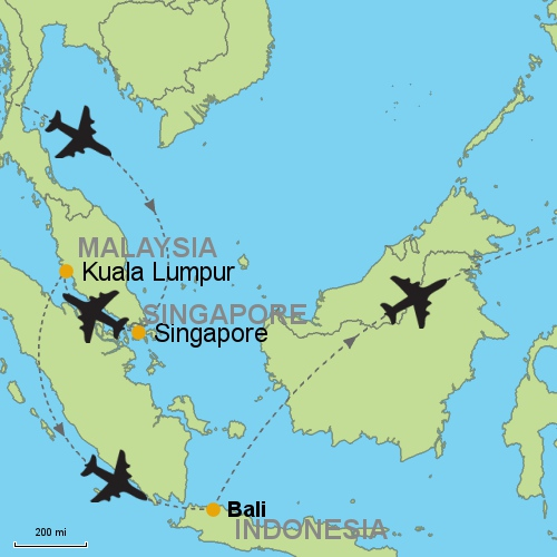 Singapore kuala lumpur bali customizable itinerary from asia map singapore kualalumpur bali gumiabroncs Images