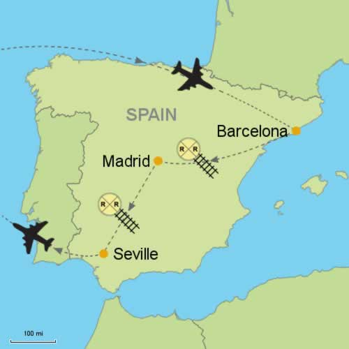 Map Of Spain Showing Seville.Barcelona Madrid Seville Customizable Itinerary From Tripmasters Com