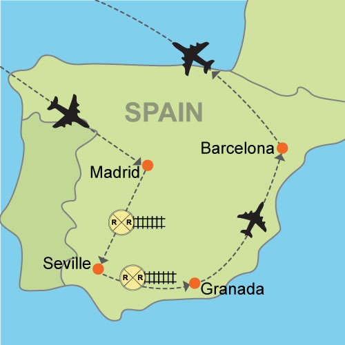 Madrid Seville Granada And Barcelona Customizable Itinerary - Barcelona map europe