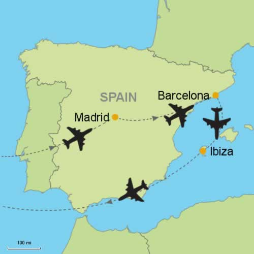 Madrid Barcelona and Ibiza by Air Customizable Itinerary from
