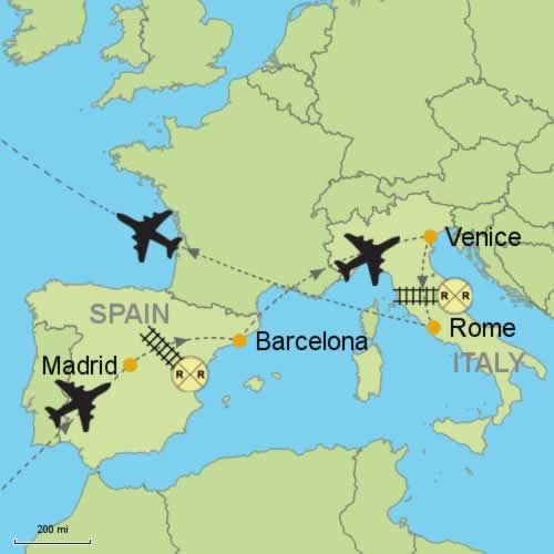 Madrid Map Of Spain.Madrid Barcelona And Venice Rome