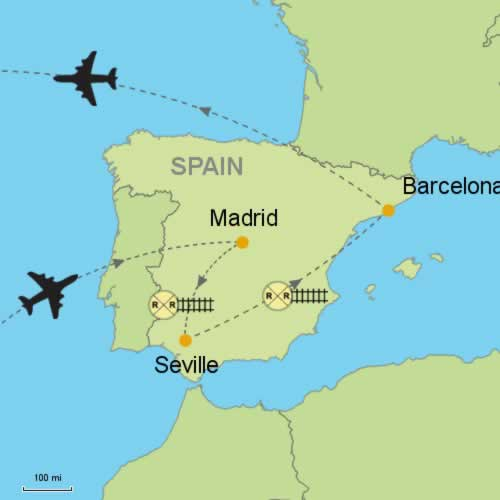 Map Of Spain With Madrid.Madrid Seville Barcelona