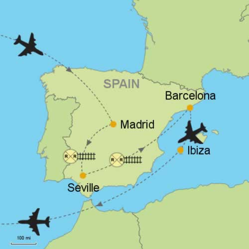 Map Of Spain With Madrid.Madrid Seville Barcelona Ibiza