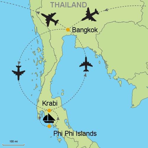 Bangkok - Krabi - Phi Phi Islands on batam island map, cebu island map, hong kong island map, vancouver island map, amsterdam island map, bintan island map, koh mook island map, phu quoc island map, racha island map, samui island map, redang island map, thailand island map, surin island map, lombok island map, bali island map, koh phangan map, tioman island map, taipei island map, phuket map, paris island map,