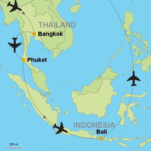 Bangkok phuket bali customizable itinerary from asiaipmasters map bangkok phuket bali gumiabroncs Images