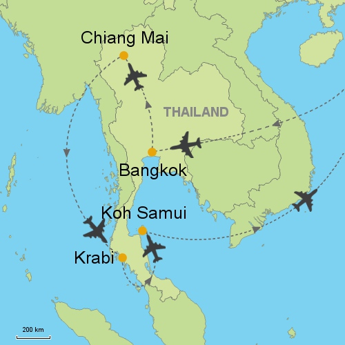 Bangkok Chiang Mai Krabi Koh Samui Customizable Itinerary From