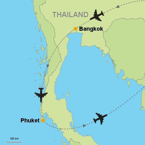 Bangkok phuketrelitin customizable itinerary from asia map bangkok phuket gumiabroncs Image collections