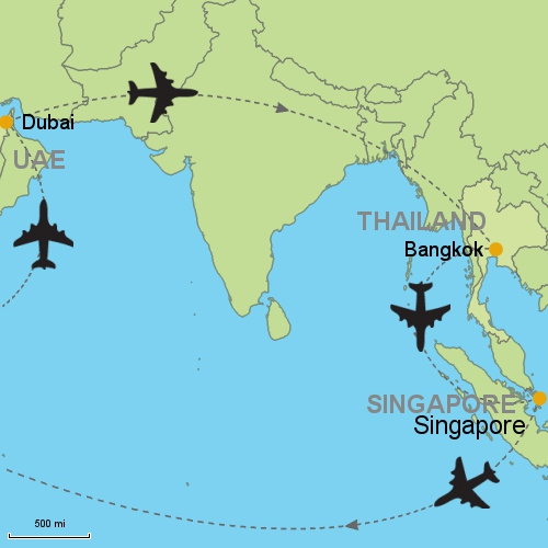 Dubai bangkok singapore customizable itinerary from asia dubai bangkok singapore map gumiabroncs Choice Image