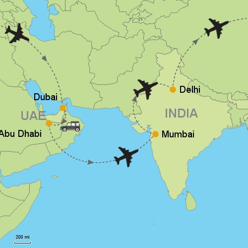 Dubai Abu Dhabi Mumbai Delhi Customizable Itinerary – Abu Dhabi Dubai Map