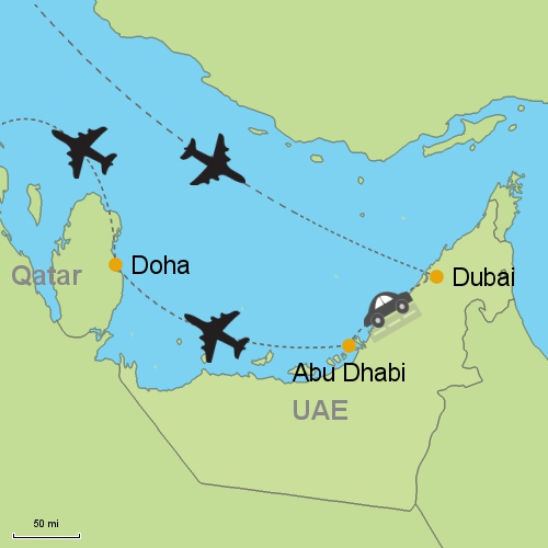 Dubai Abu Dhabi Doha Customizable Itinerary from Asia