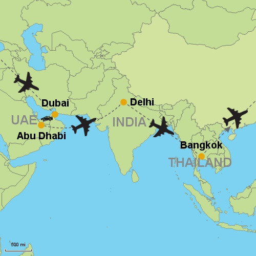 Dubai abu dhabi delhi bangkok customizable itinerary from asia map dubai abu dhabi delhi bangkok gumiabroncs Choice Image