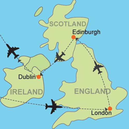 Map Of England Edinburgh.London Edinburgh Dublin By Air