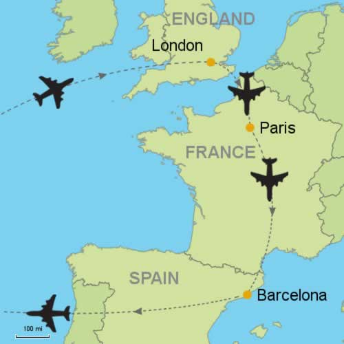 London - Paris - Barcelona by Air Customizable Itinerary from ...