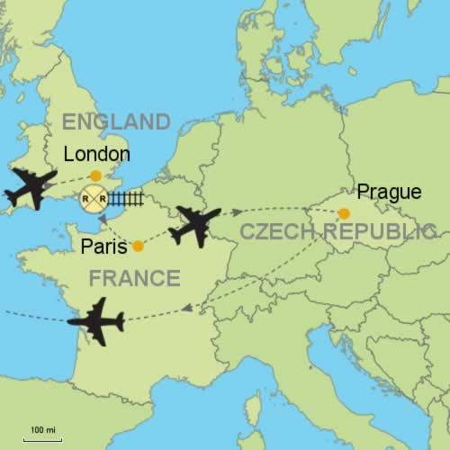 London Paris And Prague Customizable Itinerary From Tripmasterscom - Prague on world map