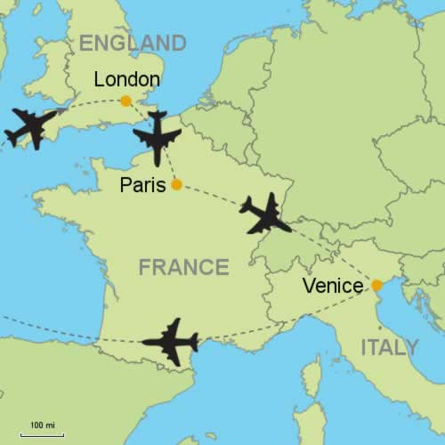 London Paris Venice By Air Customizable Itinerary From