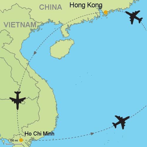Hong kong ho chi minh city customizable itinerary from asia map hong kong ho chi minh gumiabroncs Choice Image