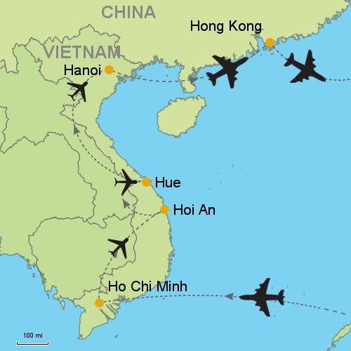 From ho chi minh city to hong kong customizable itinerary from asia map ho chi minh hoi an hue hanoi hk gumiabroncs Choice Image