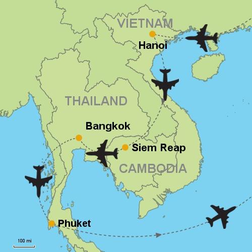 Ha Noi Vietnam Map.Hanoi Siem Reap Bangkok Phuket Customizable Itinerary From