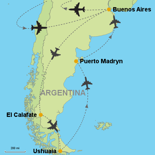 Buenos Aires And All Patagonia Customizable Itinerary - Argentina map ushuaia