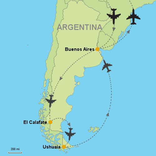 Buenos Aires El Calafate Ushuaia Customizable Itinerary - Argentina map ushuaia