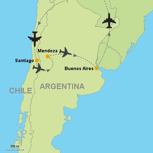 Santiago Mendoza Buenos Aires Customizable Itinerary - Argentina map buenos aires