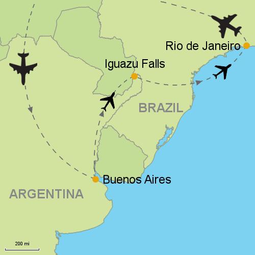 Buenos Aires - Iguazu Falls - Rio de Janeiro on tierra del fuego map, cuzco map, amazon rainforest, christ the redeemer, amazon map, strait of magellan map, mount kilimanjaro, angel falls, niagara falls, puerto iguazu map, iguazu river map, rio de janeiro, cataratas de iguazu map, lake titicaca map, sugarloaf mountain, brazil, ha long bay, falkland islands map, buenos aires, great barrier reef, aconcagua map, gran chaco map, easter island map, perito moreno glacier, machu picchu map, victoria falls, pantanal map, amazon river, llanos map, atacama desert map, chapada dos veadeiros national park map, parana river map, cape horn map, bay of fundy, itaipu dam map,