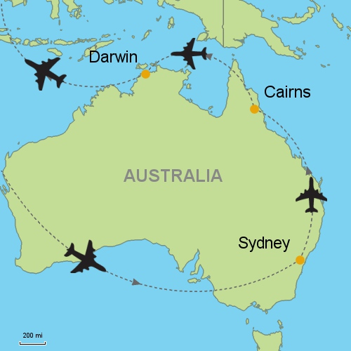 Sydney Cairns Darwin Customizable Itinerary From Asia - Sydney map world