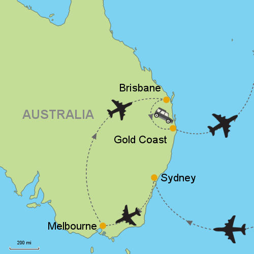 Sydney Melbourne Brisbane Gold Coast Customizable Itinerary – Gold Coast Australia Map