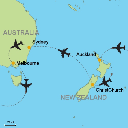 map auckland christchurch sydney melbourne