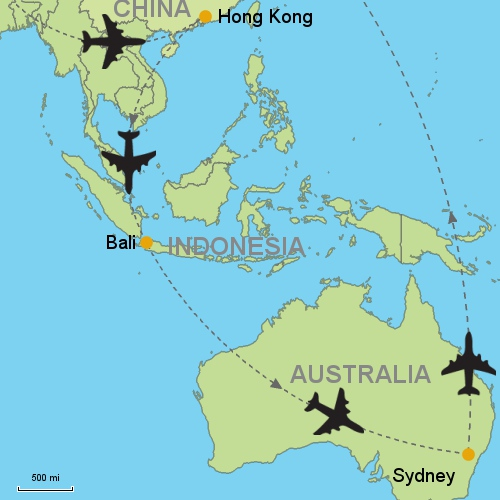 Hong kong bali sydney customizable itinerary from asia map hong kong bali sydney gumiabroncs Choice Image