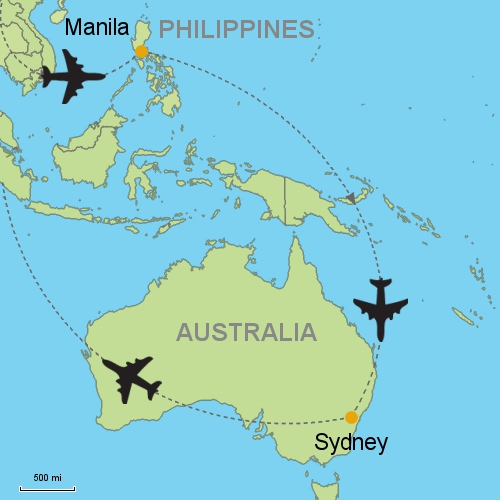 Manila sydney customizable itinerary from asiaipmasters map manila sydney gumiabroncs Gallery