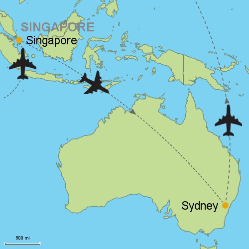 Map Singapore Sydney