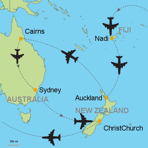 map fiji auckland cairns sydney christch