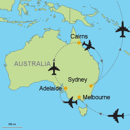 map melbourne adelaide cairns sydney