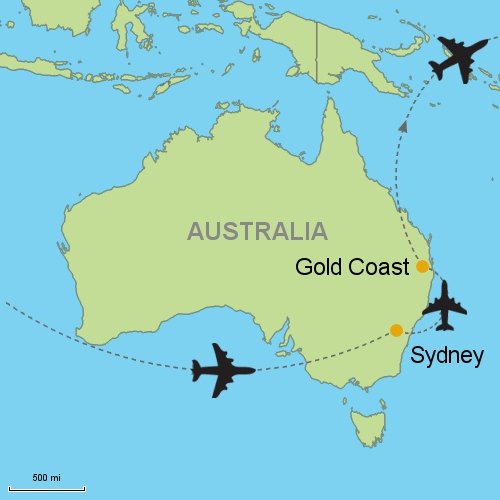 Map Of Australia Gold Coast.Sydney Gold Coast Customizable Itinerary From Asia Tripmasters Com
