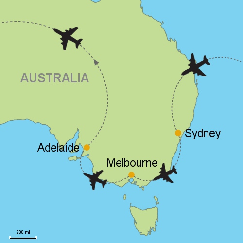 Melbourne Map Australia.Sydney Melbourne Adelaide