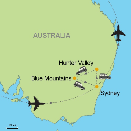 Sydney - Hunter Valley - Blue Mountains by car Customizable ... on