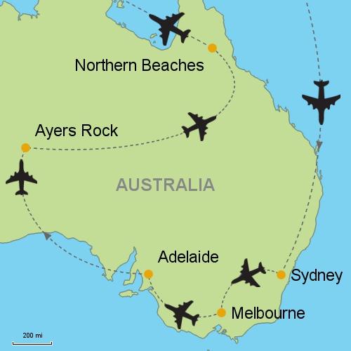 Sydney Melbourne Adelaide Uluru Northern Beaches