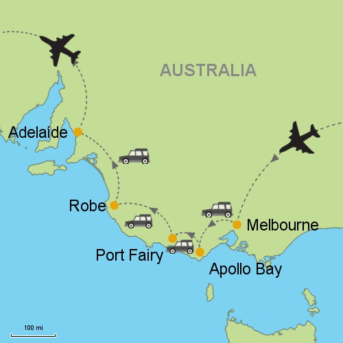 map melbourne to adelaide via great ocean road