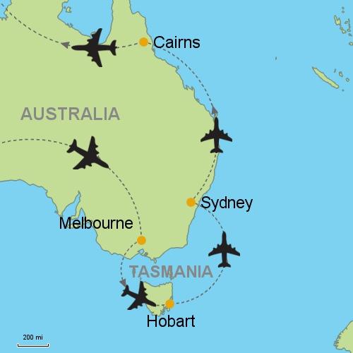 Australia Map Hobart.Melbourne Hobart Sydney Cairns