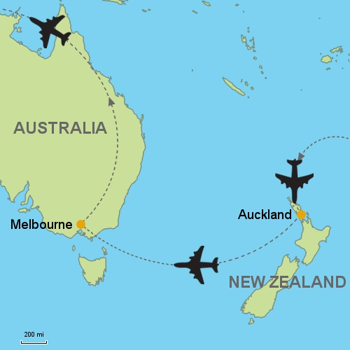 Auckland Melbourne Customizable Itinerary – Auckland Australia Map