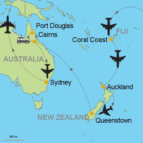 Map Of Australia Port Douglas.Fiji Auckland Queenstown Port Douglas Sydney Customizable Itinerary