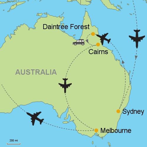 Sydney daintree rainforest cairns melbourne customizable map sydney daintree forest cairns mel sciox Gallery