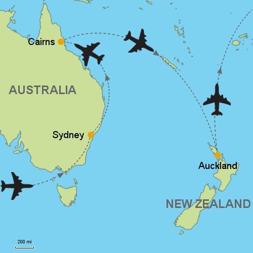 Australia Map Cairns.Sydney Cairns Auckland