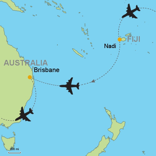 Nadi fiji brisbane customizable itinerary from asia map nadi fiji brisbane gumiabroncs Gallery