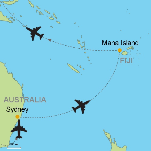 Sydney mana island fiji customizable itinerary from asia map sydney mana island gumiabroncs Image collections