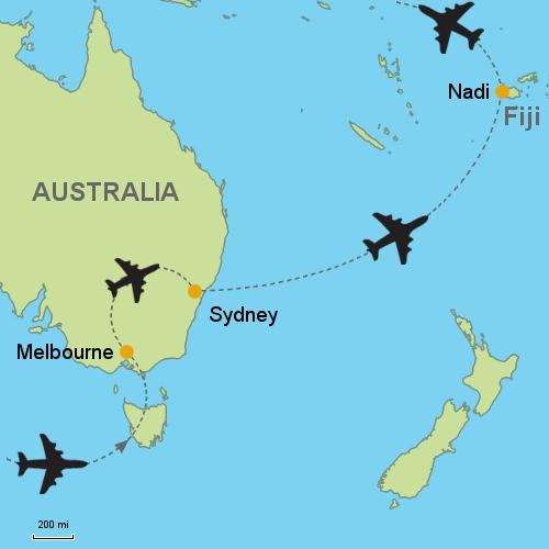 Melbourne sydney coral coast fiji customizable itinerary map melbourne sydney coral coast fiji gumiabroncs Images
