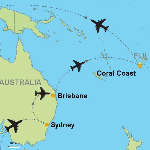 Map Sydney Brisbane C Coast Fiji