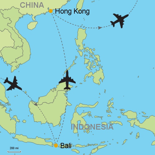 Bali denpasar hong kong customizable itinerary from asia map bali denpasar hong kong gumiabroncs Image collections