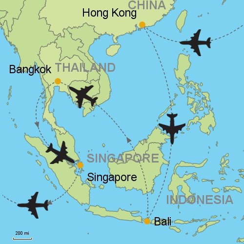 Hong kong bali bangkok singapore customizable itinerary from map h kong bali bangkok singapore gumiabroncs Gallery